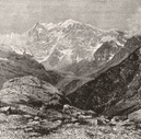 SWITZERLAND. Monte Rosa, from Galcoro c1885 old antique vintage print picture